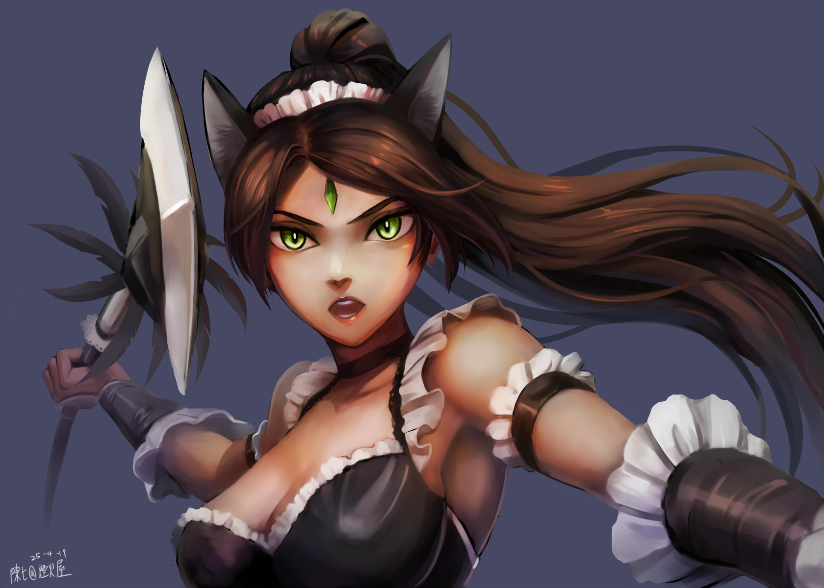 French Maid Nidalee wallpaper