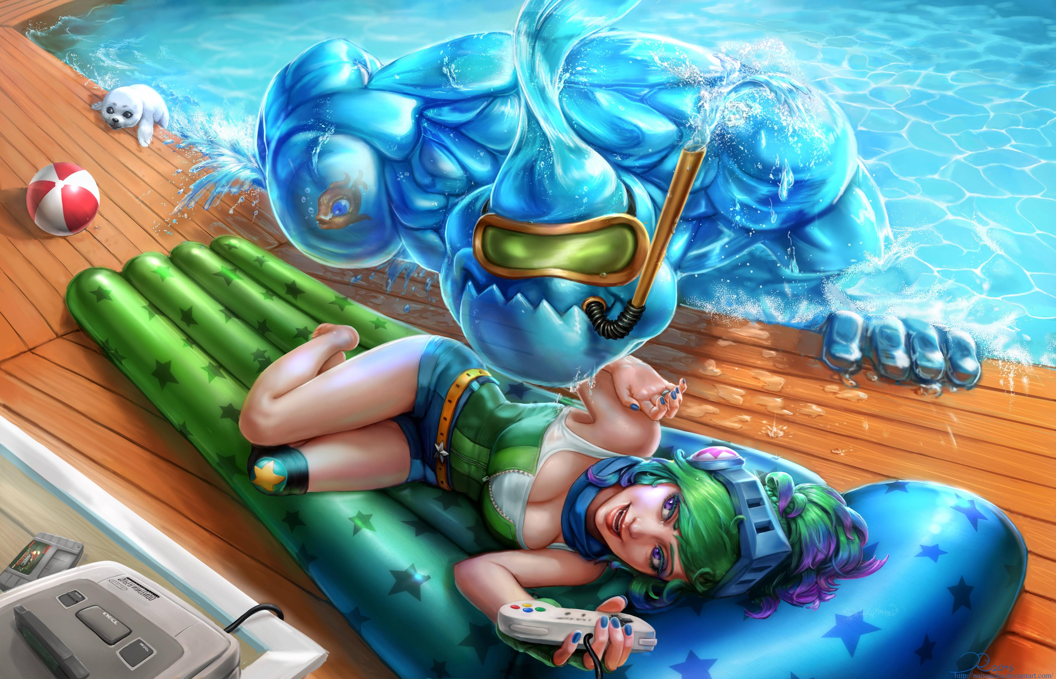 Riven & Zac Pool Party wallpaper
