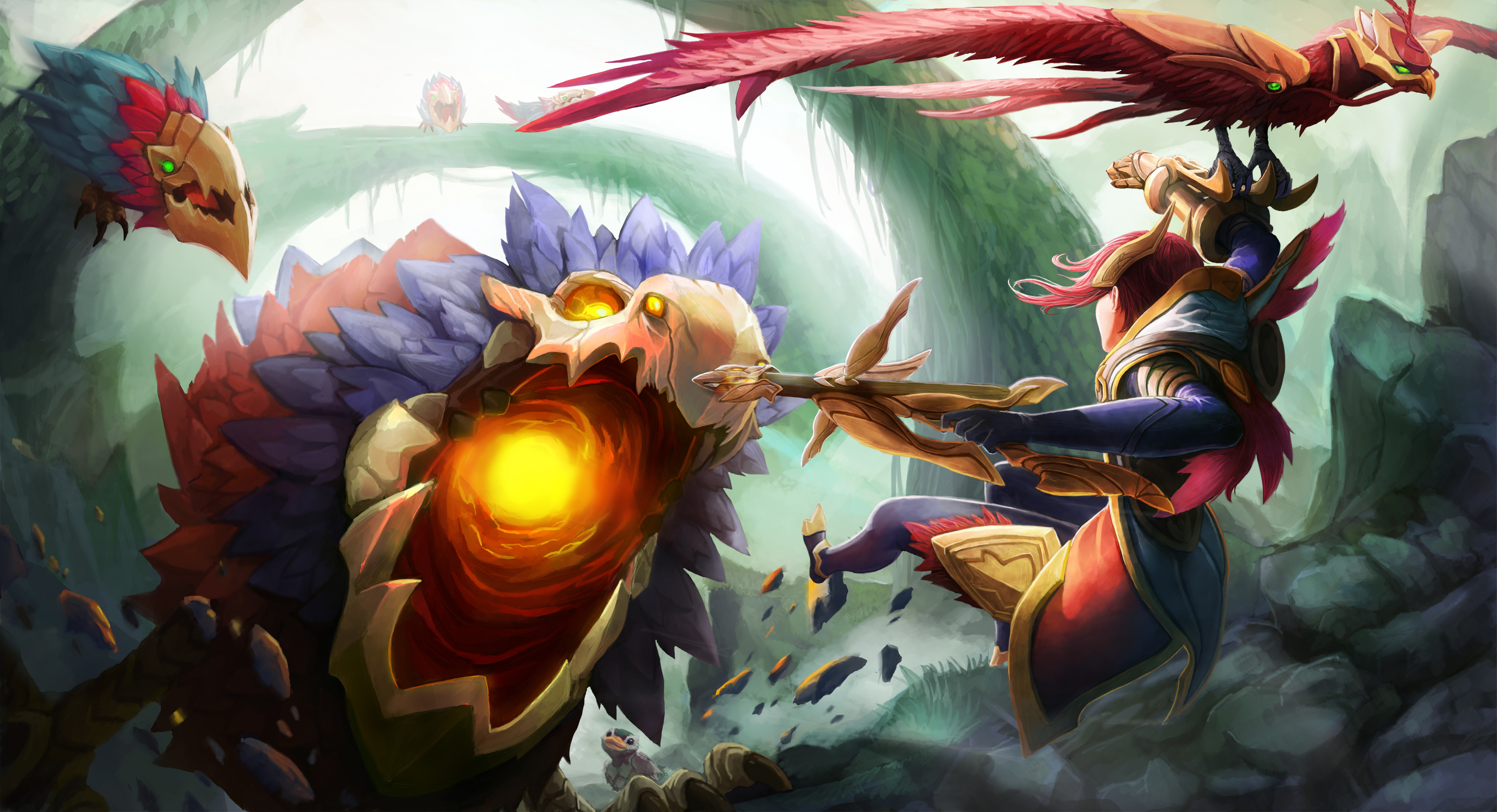 Quinn vs Crimson Raptor wallpaper